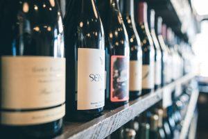 Shop shelf of wine