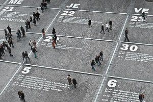 People walking across a calendar