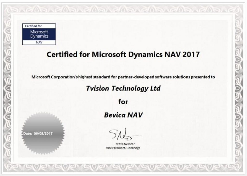Certified for Microsoft Dynamics CfMD Certificate for Bevica 2017