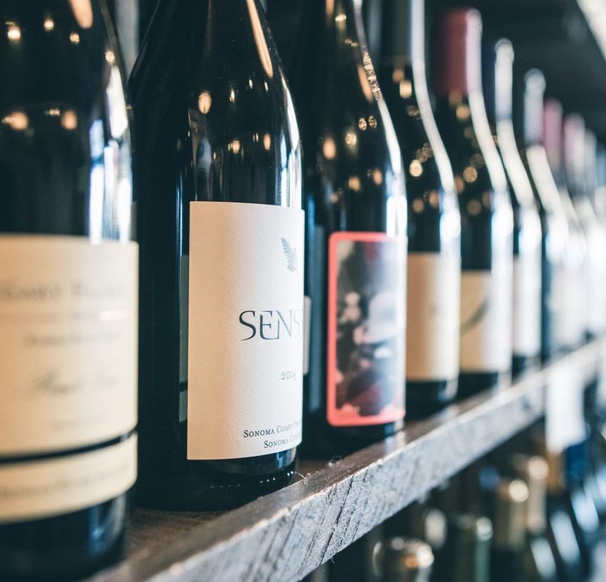 Wine on shop shelf